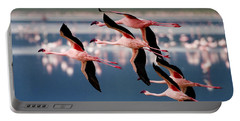 Flamingos In Flight-signed Portable Battery Charger by J L Woody Wooden