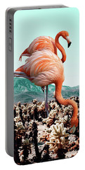 Flamingos In The Desert Portable Battery Charger