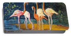 Portable Battery Charger featuring the painting Flamingos by Judy Fischer Walton