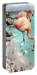 Flamingos On The Beach Portable Battery Charger by Uma Gokhale