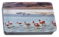 Flamingos Portable Battery Charger by Sandy Taylor