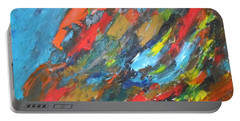 Portable Battery Charger featuring the painting Flash Fire by Esther Newman-Cohen