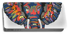 Flashy Elephant - Contemporary Animal Painting Portable Battery Charger