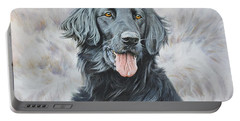 Flat Coated Retriever Portrait Portable Battery Charger