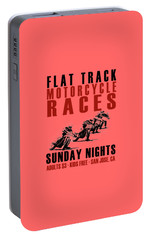 Flat Track Motorcycle Races Portable Battery Charger by Mark Rogan