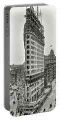 Flatiron Building Construction 1902 Portable Battery Charger by Daniel Hagerman