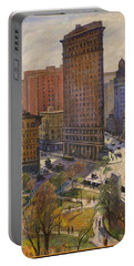 Portable Battery Charger featuring the painting Flatiron Building New York By Samuel Halpert by Samuel Halpert