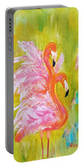 Portable Battery Charger featuring the painting Flaunting Feathers by Judith Rhue