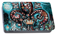 Portable Battery Charger featuring the painting Fleur De Lis Steampunk Style by Genevieve Esson