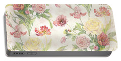 Fleurs De Pivoine - Watercolor In A French Vintage Wallpaper Style Portable Battery Charger
