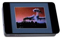 Portable Battery Charger featuring the digital art Flight 175 Mushroom Cloud Framed Example by James Kosior