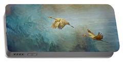 Flight Of Fantasy, Sandhill Cranes Portable Battery Charger