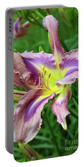 Portable Battery Charger featuring the digital art Flight Of Orchids Daylily by Eva Kaufman