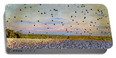 Portable Battery Charger featuring the photograph Flight Over The Cotton by Jan Amiss Photography