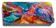 Portable Battery Charger featuring the painting Floating Feather Swirls by Claire Bull