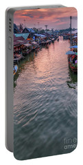 Portable Battery Charger featuring the photograph Floating Market Sunset by Adrian Evans