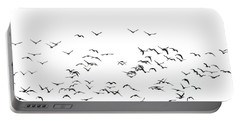 Flock Of Beautiful Migratory Lapwing Birds In Clear Winter Sky I Portable Battery Charger