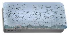 Flock Of Beautiful Migratory Lapwing Birds In Clear Winter Sky Portable Battery Charger
