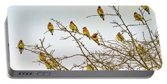 Flock Of Cedar Waxwings  Portable Battery Charger by Geraldine Scull