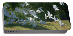 Flock Of Egrets In Flight Portable Battery Charger