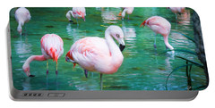 Flock Of Flamingos Portable Battery Charger