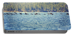 Flock Of Geese Portable Battery Charger by Janie Johnson