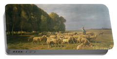 Flock Of Sheep In A Landscape Portable Battery Charger by Charles Emile Jacque