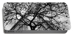 Flood Building - San Francisco - Corner Tree View Black And White Portable Battery Charger