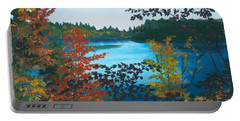Portable Battery Charger featuring the painting Floodwood by Lynne Reichhart