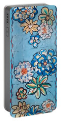 Floor Cloth Blue Flowers Portable Battery Charger