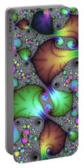 Portable Battery Charger featuring the photograph Floral Abstract Fractal Art Green Gold Brown Purple by Matthias Hauser