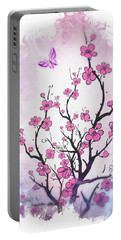 Floral Abstract Painting  Portable Battery Charger