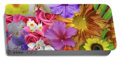 Floral Collage 01 Portable Battery Charger