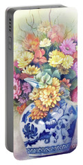 Portable Battery Charger featuring the painting Floral Fusion by Marlene Book