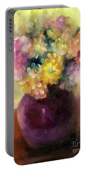 Portable Battery Charger featuring the painting Floral Oil Sketch by Marlene Book