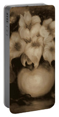 Floral Puffs In Brown Portable Battery Charger