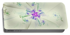 Portable Battery Charger featuring the digital art Floral Spiral by Deborah Benoit