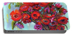 Red Poppies In A Vase, Summer Floral Bouquet, Impressionistic Art Portable Battery Charger