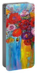 Wild Roses And Peonies, Original Impressionist Oil Painting Portable Battery Charger