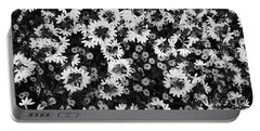 Floral Texture In Black And White Portable Battery Charger
