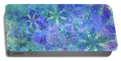 Floral Watercolor Blue Portable Battery Charger