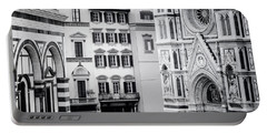 Portable Battery Charger featuring the photograph Florence Italy View Bw by Joan Carroll
