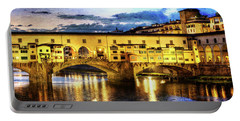 Florence - Ponte Vecchio Sunset From The Oltrarno - Vintage Version Portable Battery Charger