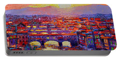 Florence Sunset Over Ponte Vecchio Abstract Impressionist Knife Oil Painting By Ana Maria Edulescu Portable Battery Charger