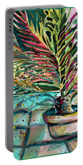 Portable Battery Charger featuring the painting Florescent Palm by Mindy Newman