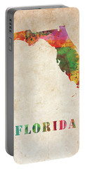 Florida Colorful Watercolor Map Portable Battery Charger