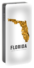 Florida Map Art Abstract In Yellow Gold Portable Battery Charger