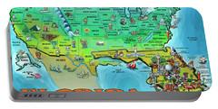 Florida Usa Cartoon Map Portable Battery Charger