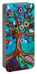 Portable Battery Charger featuring the painting Flourishing Tree by Pristine Cartera Turkus