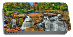Flow On Reedy River Falls Park Art Greenville South Carolina Art Portable Battery Charger